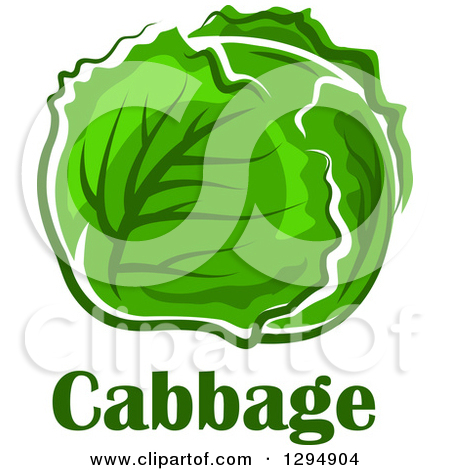 Clipart of a Head of Green Cabbage over Text.