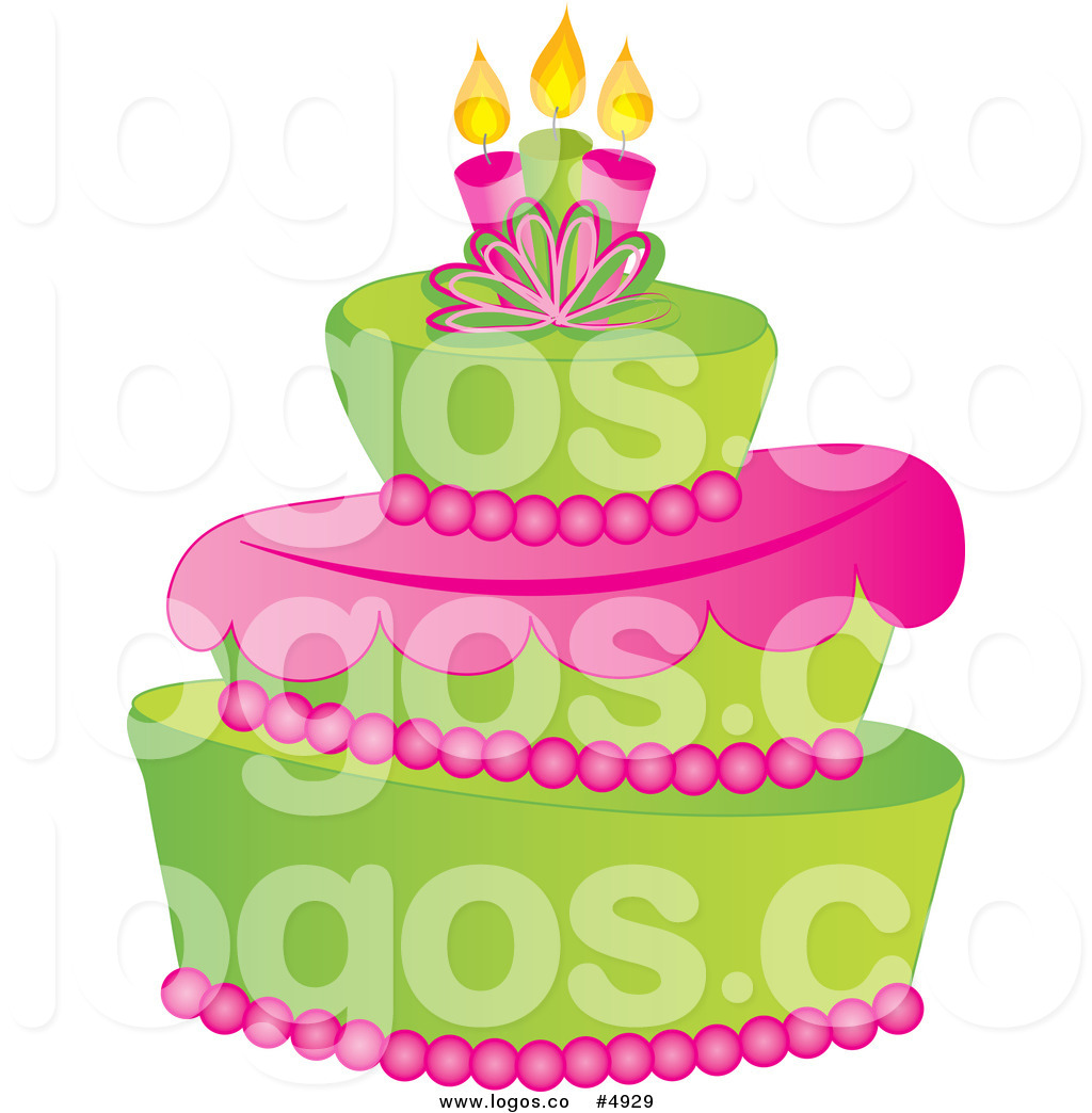Royalty Free Vector of a Green and Pink Fondant Cake Logo by Pams.