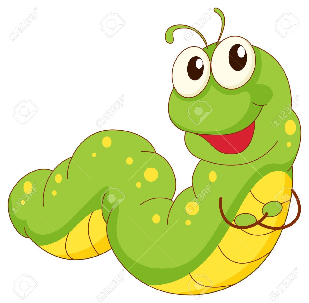 Long green caterpillar clipart.