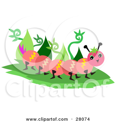 Cartoon of a Happy Caterpillar and Pink Flower over a Floral Oval.