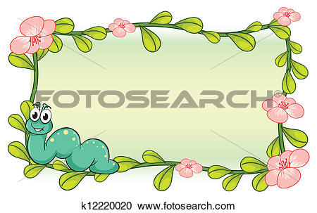 Clipart of A caterpillar and a flower plant frame k12220020.