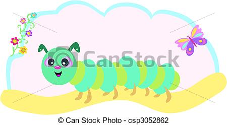 Vector Illustration of Caterpillar with Butterfly and Flowers.