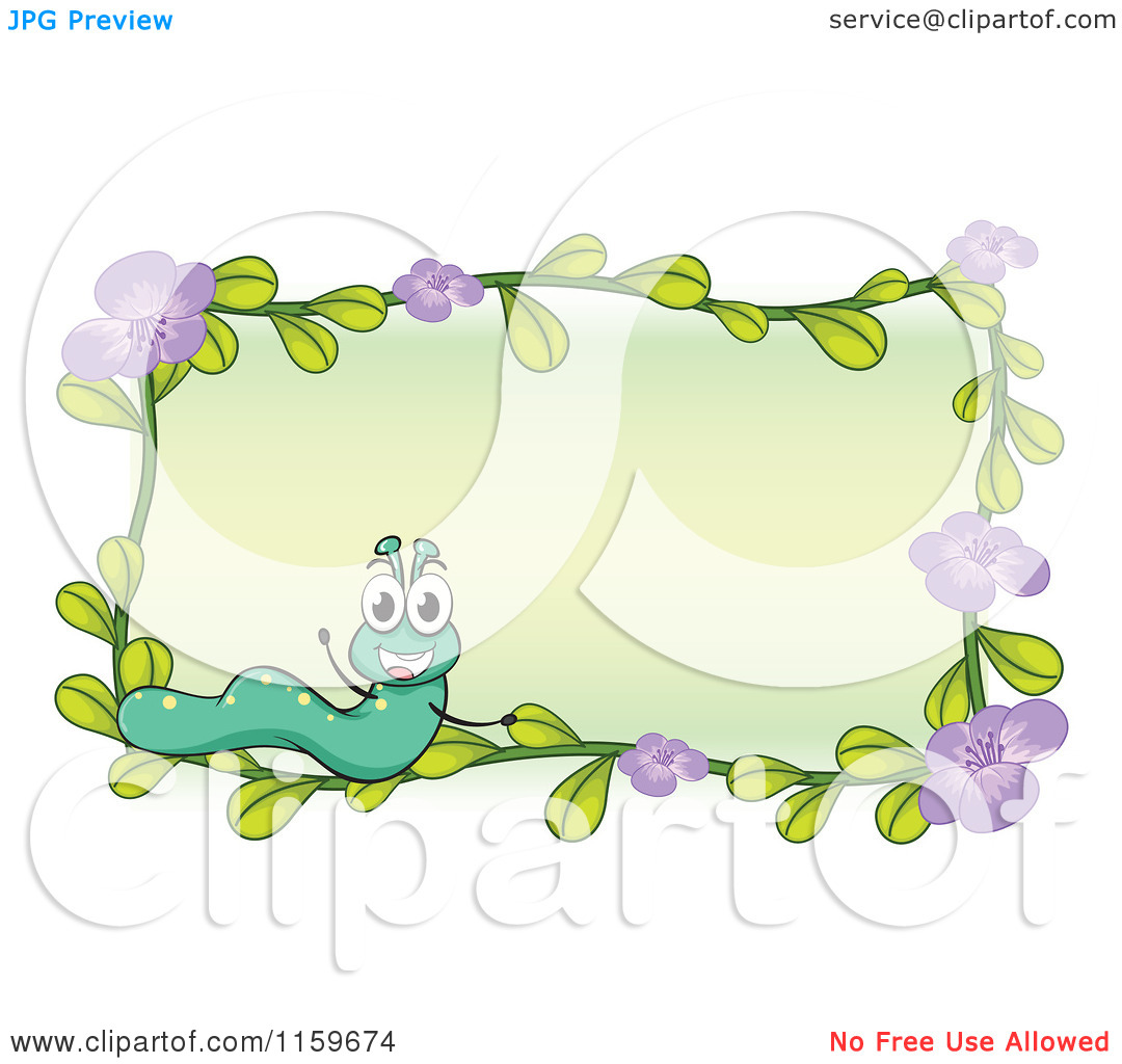 Cartoon of a Caterpillar and Purple Flower Frame with Copyspace.