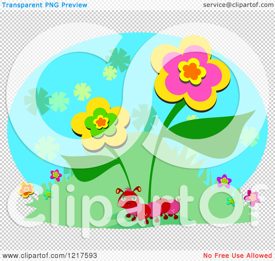 Clipart of a Red Caterpillar on a Hill with Flowers.