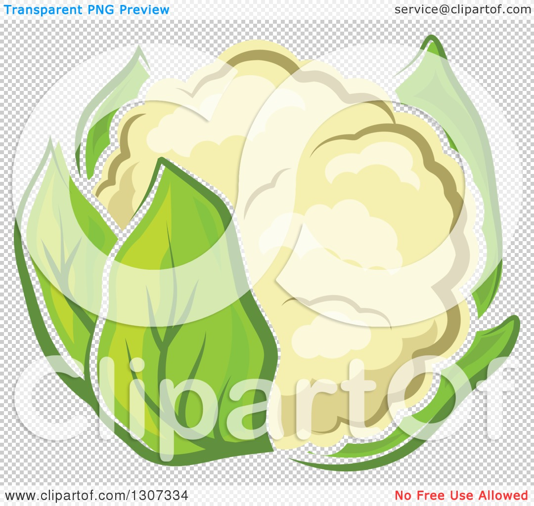 Clipart of a Cartoon White Cauliflower with Green Leaves.