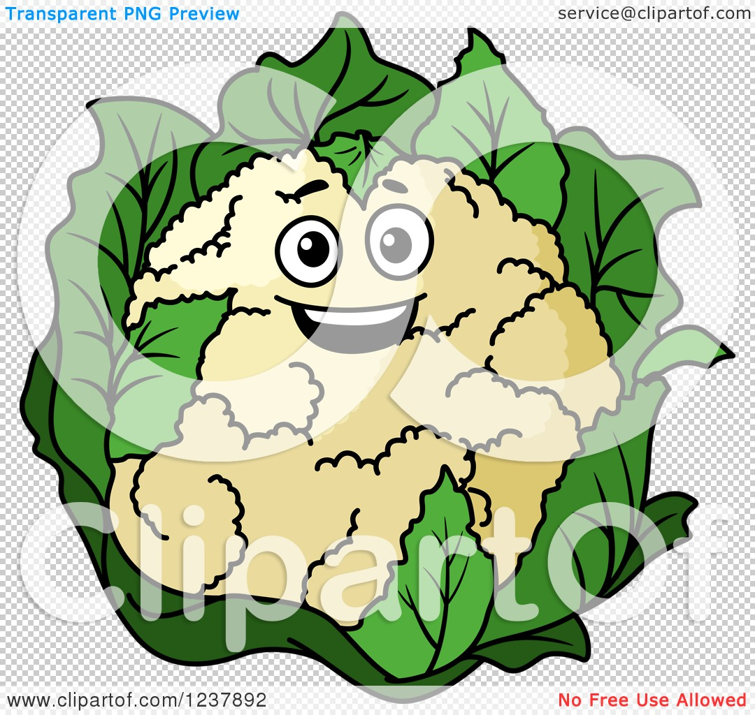 Clipart of a Happy Cauliflower.
