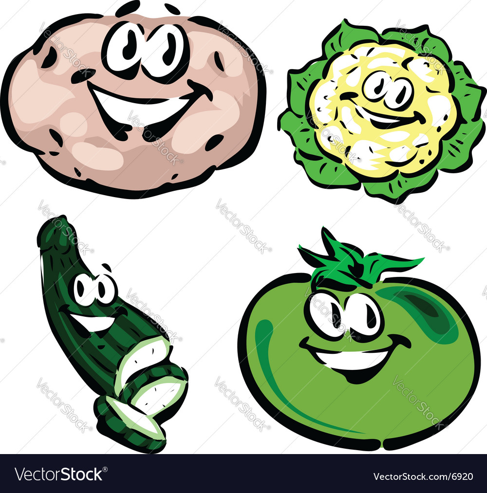Potato cauliflower zucchini green tomato Royalty Free Vector Image.