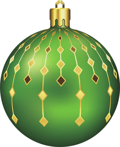Large Transparent Green Christmas Ball Clipart.