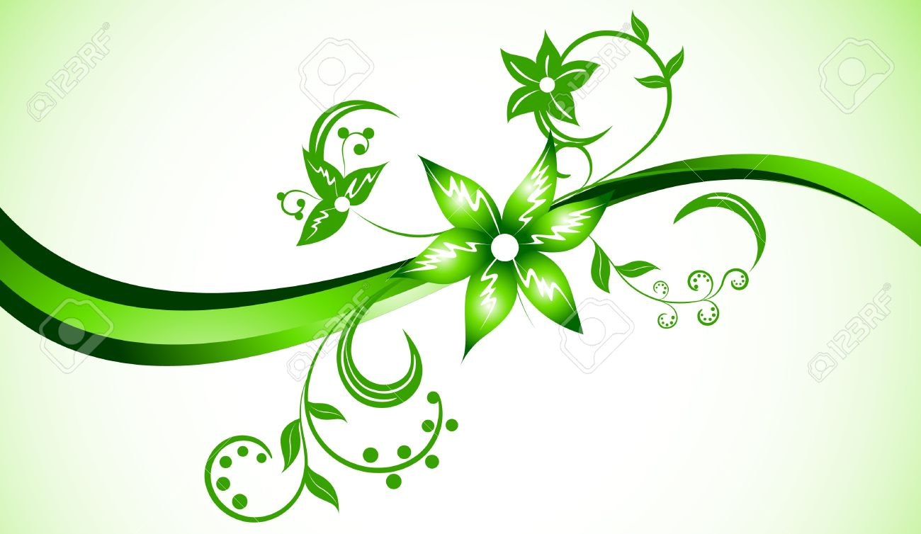 Vector Bright Background In Green Color; Clip.