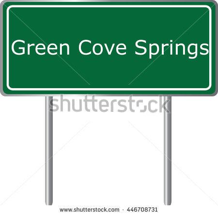 Green Cove Springs , Florida, Road Sign Green Vector Illustration.