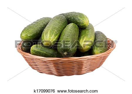 Stock Images of basket with cucumbers k17099076.
