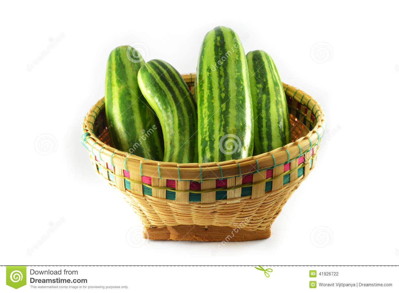 A Basket Of Cucumber Stock Photo.