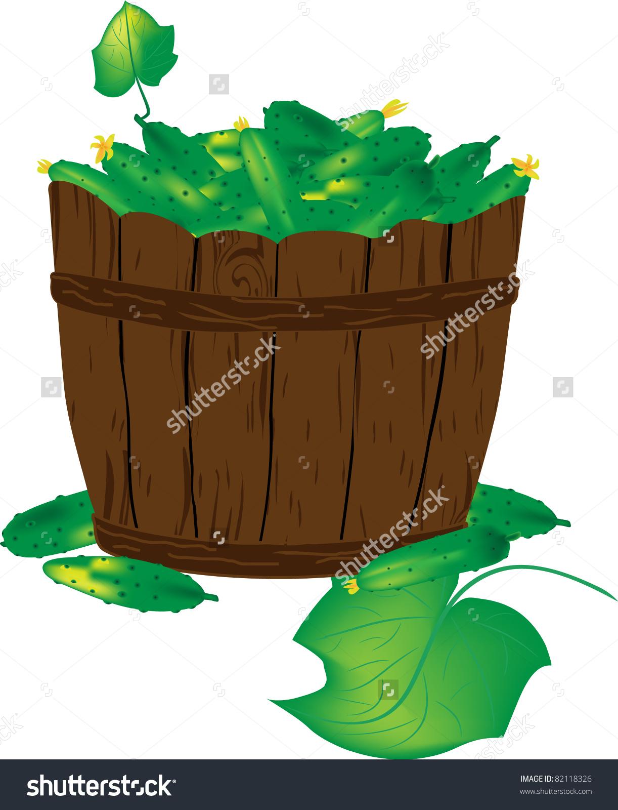 Green Cucumbers Basket Stock Vector 82118326.