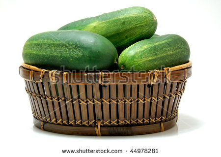 Cucumber Brazilian Cucumber Vegetable Salad Basket Stock Photo.