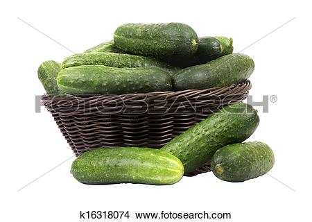 Stock Photo of basket with cucumbers k16318074.