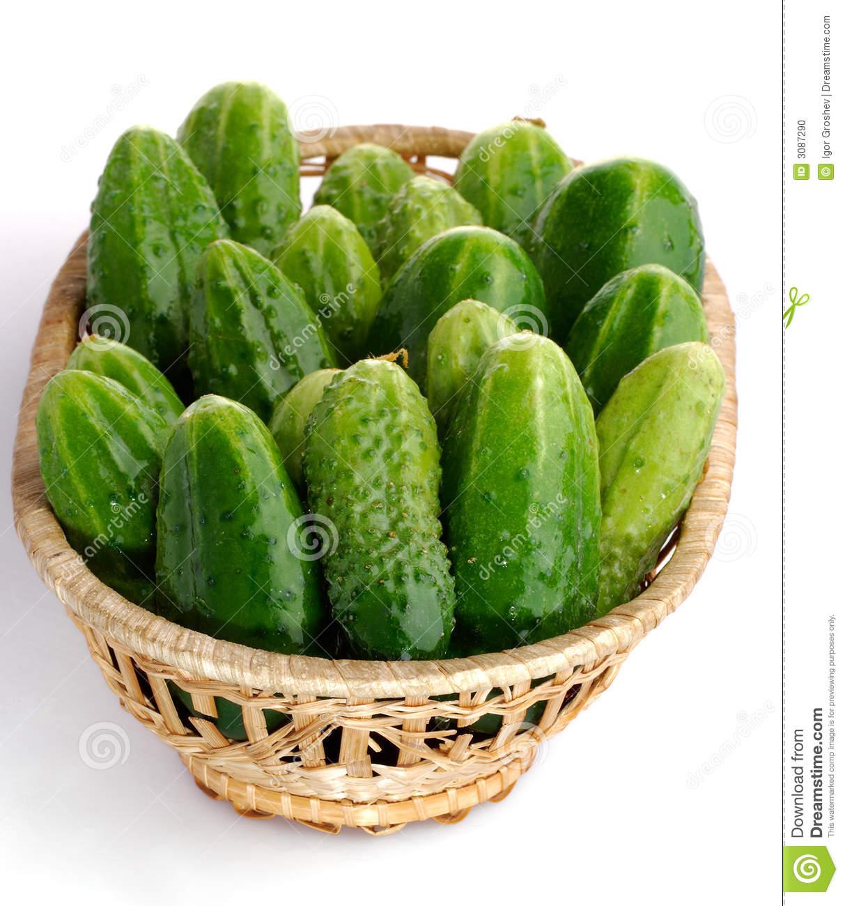 Cucumber Basket Stock Photo.