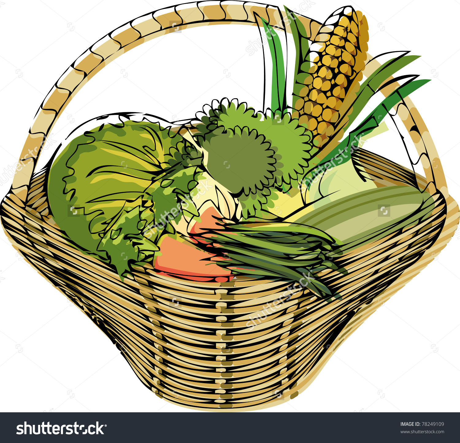 Broccoli Basket Vegetables Market Cabbage Carrot Corn French Beans.
