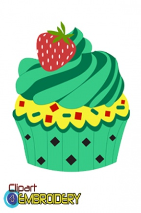 Green Cupcake Clipart.