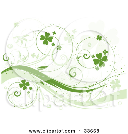 Clipart Illustation of a Curly Green Vine With Shamrocks, Over A.