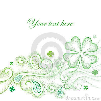 Green Four Leaf Clover Background Stock Photography.