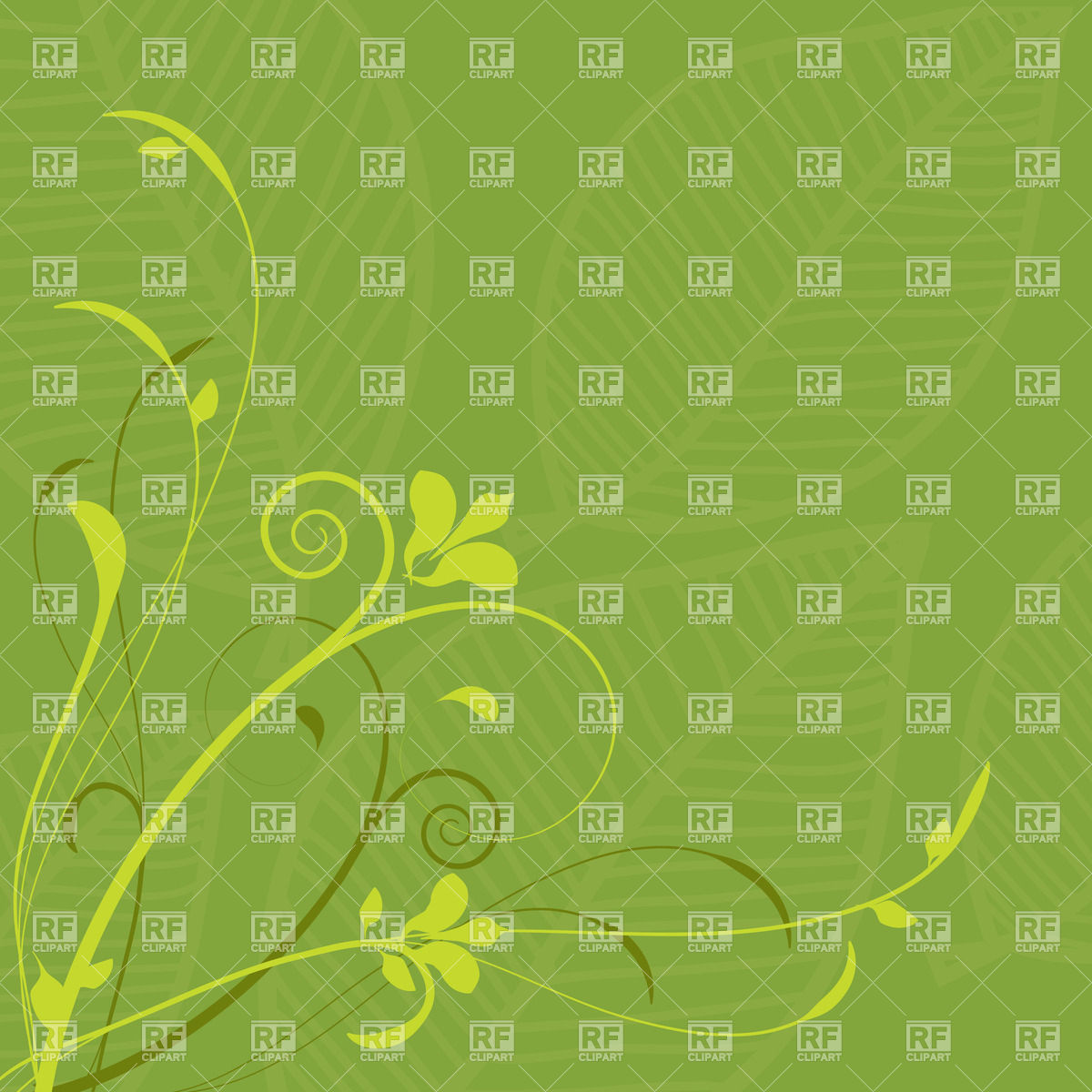 Curly twigs on green background with leaves Vector Image #23834.