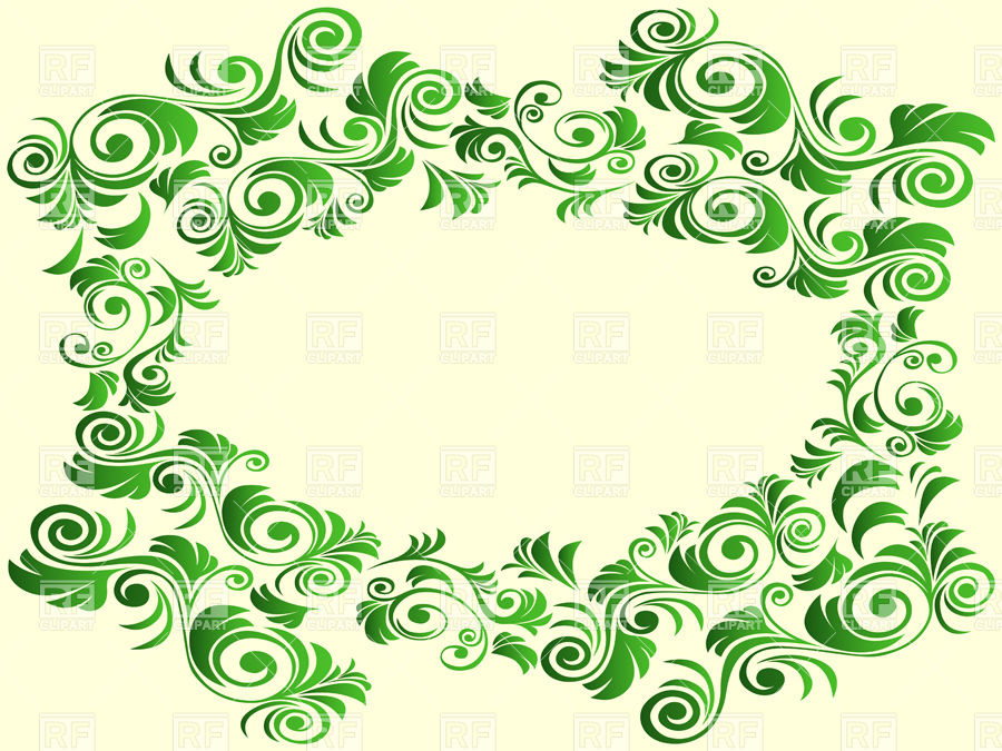 Frame with green curly elements on yellow background Vector Image.