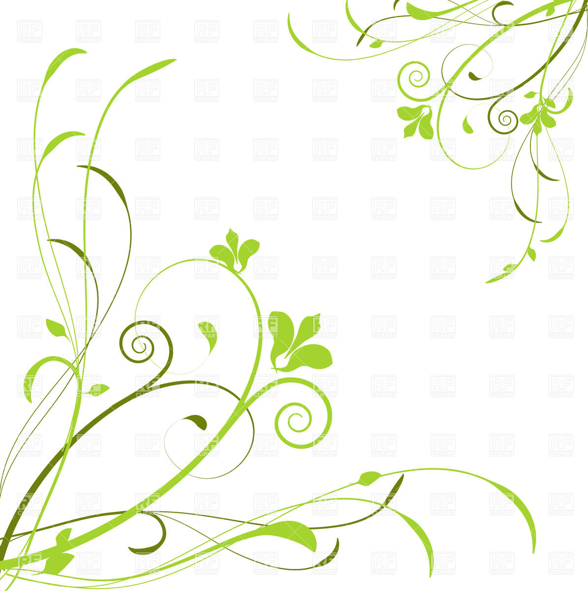 Abstract background with green curly flowers Vector Image #23752.
