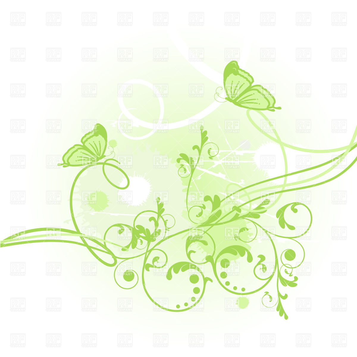Green curly twigs on white background Vector Image #23114.