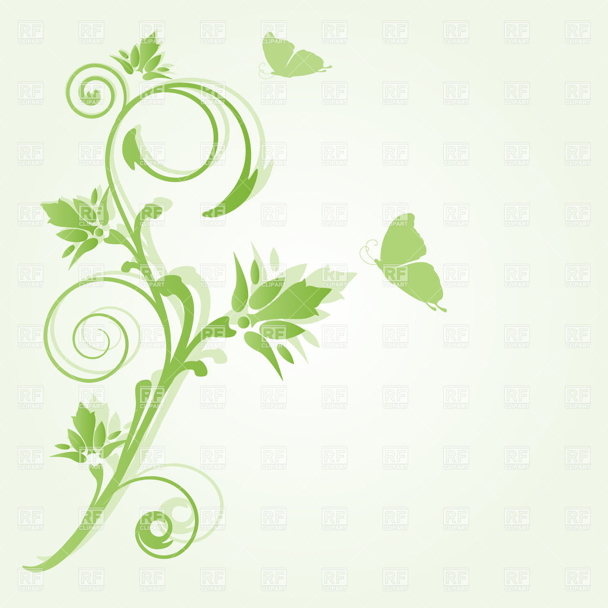 Curly twir and two butterfly on light green background Vector.