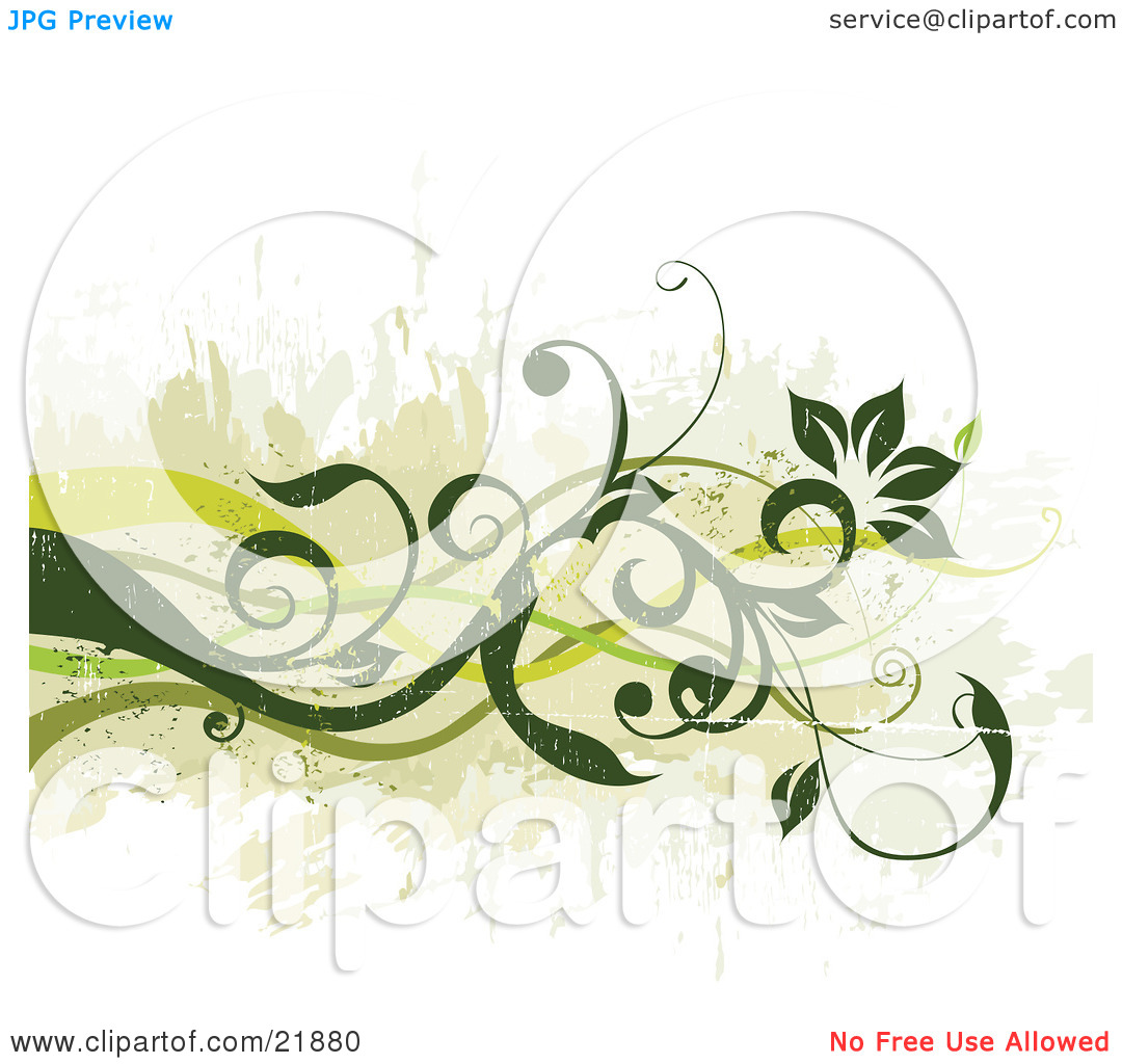 Clipart Picture Illustration of Green Curly Vines With Flowers.