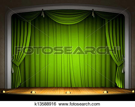 Stock Illustration of Empty stage with green curtain in.
