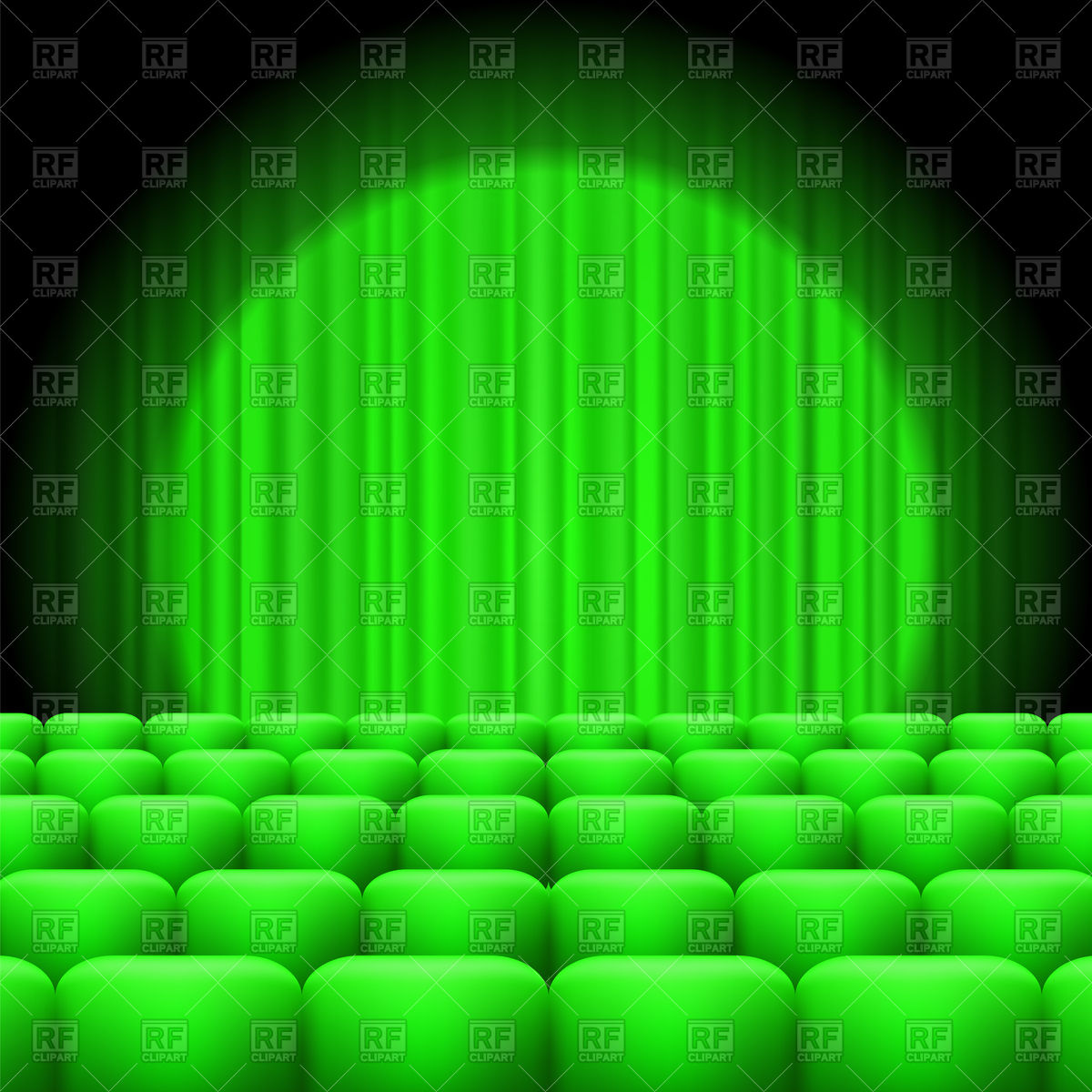Green cinema hall with curtains and spotlight Vector Image #96106.