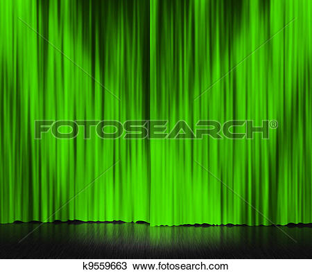 Drawing of Green Curtain Stage Background k9559663.