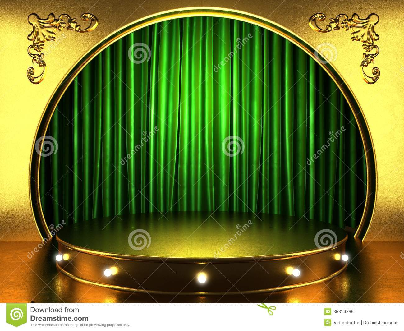 Green Fabric Curtain On Stage Royalty Free Stock Images.