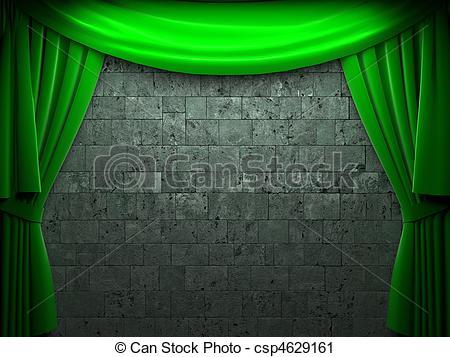 Clipart green curtains.