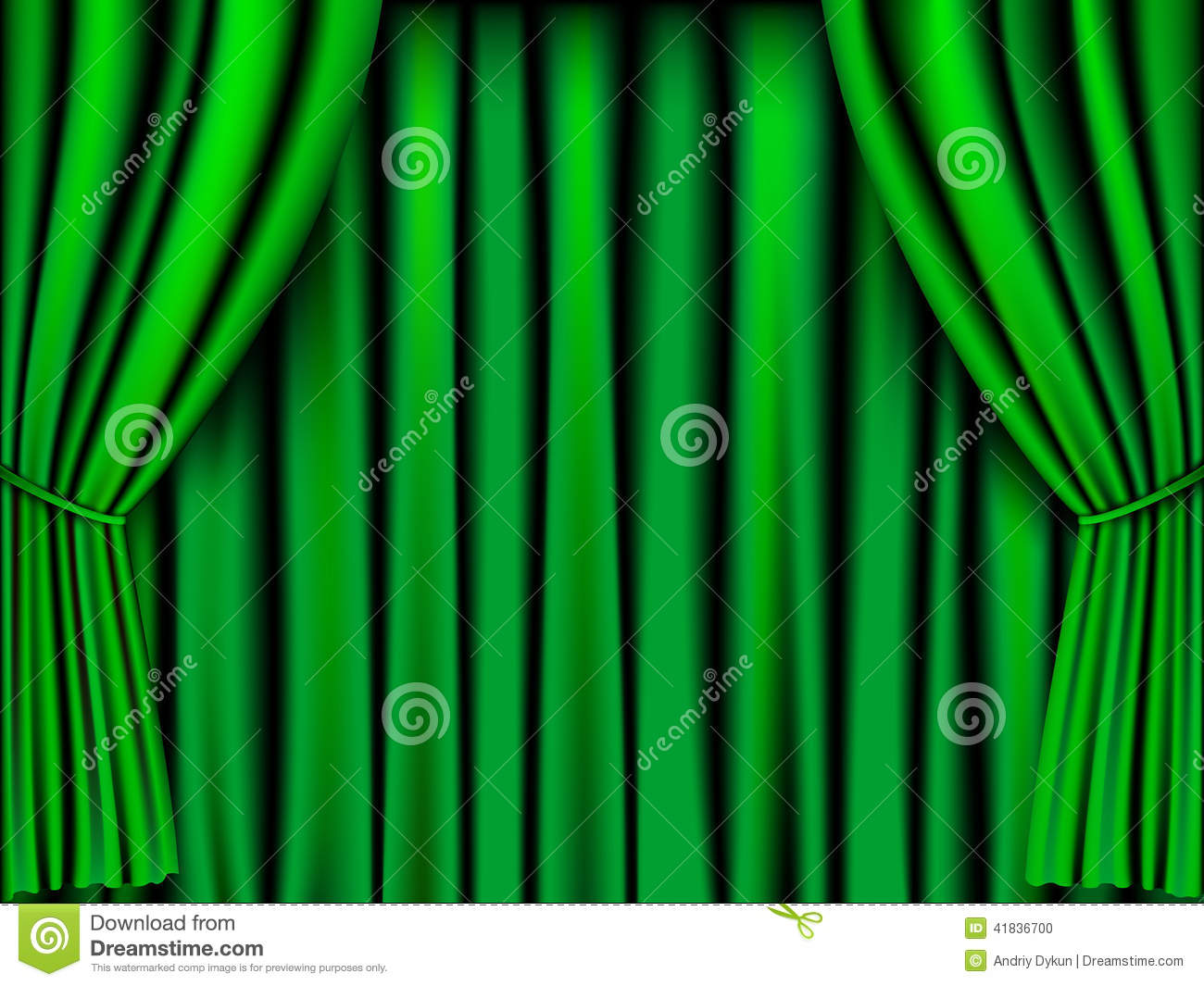 Green Curtain, Vector Royalty Free Stock Images.