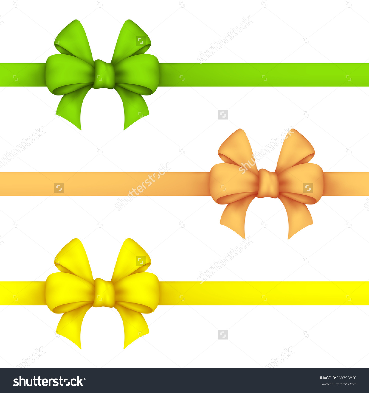Green, Daffodil And Yellow Gift Bows. Set Ribbons On A White.
