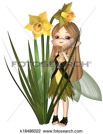 Stock Illustration of Cute Toon Daffodil Fairy, Hiding k18545558.