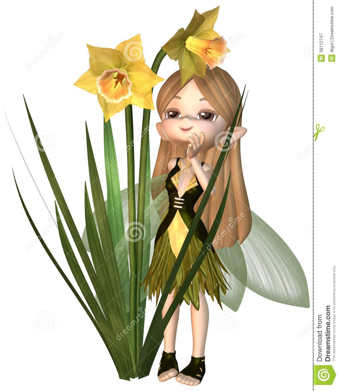 Cute Toon Daffodil Fairy, Standing Royalty Free Stock Photography.