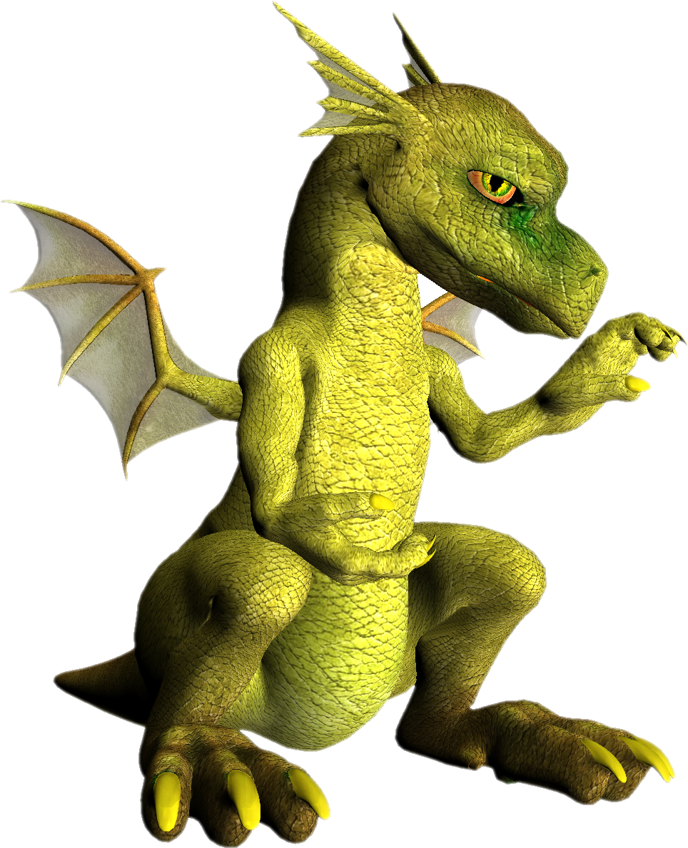 Green dragon PNG images, free drago picture.
