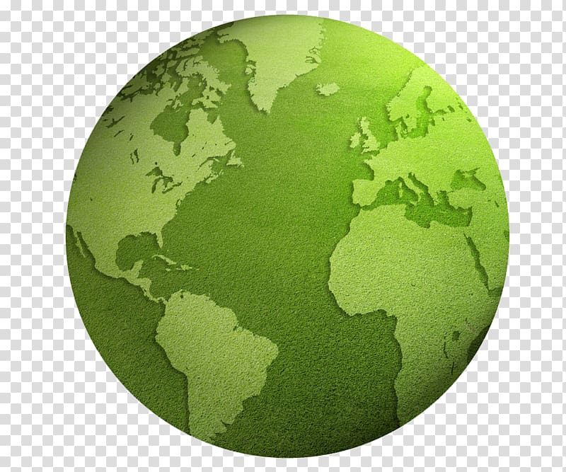 Earth Globe World map , Green Earth transparent background.