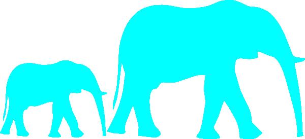 Mom And Baby Elephant Blue Clip Art at Clker.com.
