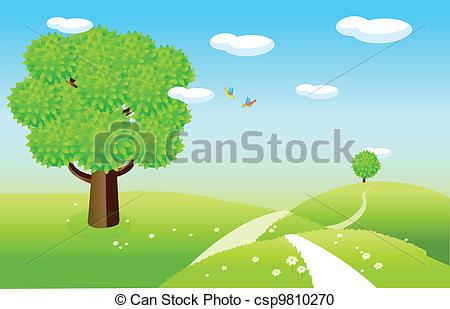 Vector Clipart of Spring landscape with green fields.