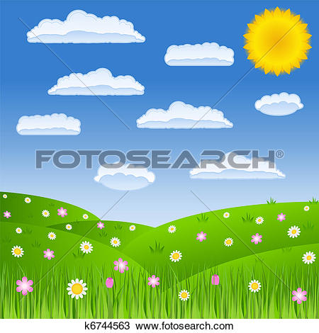 Clipart of Summer green field k6744563.
