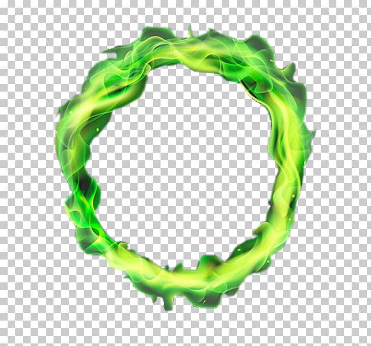 Flame Fire, Green circle flames, round green flame frame PNG.
