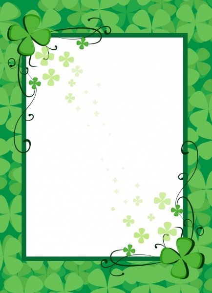 Document border template green flowers decoration Free.