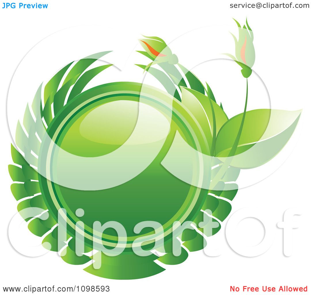 Clipart Reflective Green Circle With Vines And Flower Buds.