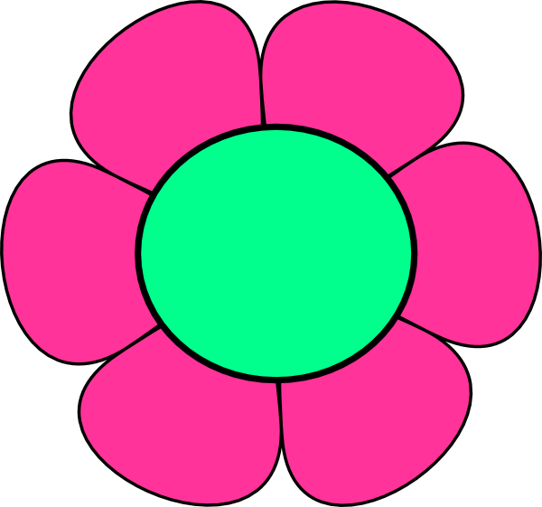 Pink and green flower clipart.