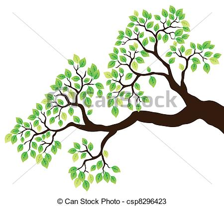 Vectors of Tree branch with green leaves 1.