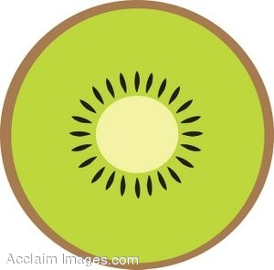 Clip Art of a Slice of Kiwi Fruit.